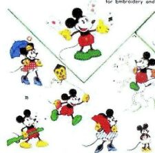 Vintage Embroidery Applique Transfer repo 123 Minnie Mickey Mouse for Children
