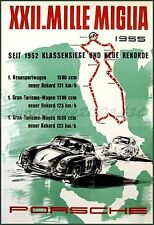 Porsche 1955 Mille Miglia Car Racing Vintage Poster Art Print Retro Car Rally