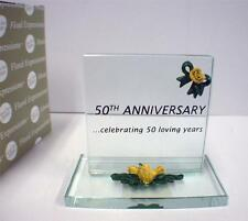50th Wedding Anniversary Glass Plaque Cake topper Gift NIB 50 loving years