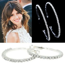 New Fashion Women Silver Plated Diamante Crystal Rhinestone Hoop Round Earring