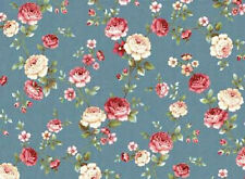 Mrs. Miniver Roses  Floral Cotton Fabric Fabric Red Rooster Blue  BFab