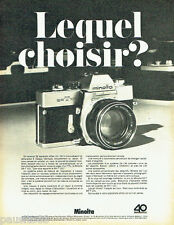 PUBLICITE ADVERTISING 096  1969   Minolta  appareil photo SR-T 101