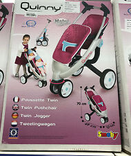 *** GIRLS SMOBY QUINNY TWIN DOLLS PUSHCHAIR BUGGY STROLLER PRAM SET DOLL - GIFT