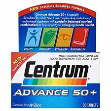 CENTRUM ADVANCE 50+ A TO ZINC MULTIVITAMIN  - 30 TABLETS