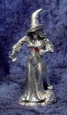 Pewter WITCH with Broom & Potion Bottle - CRYSTALS - Satin Finish