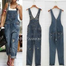 Celeb Womens Baggy Denim Jeans Full Length Pinafore Overall Jumpsuit DUNGAREE M