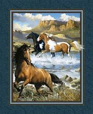 Wild Wings Rhapsody West Wild Horses Horse Large Cotton Fabric Panel
