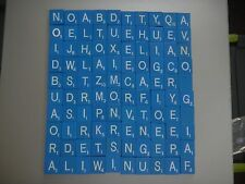 SET of 100 BLUE AND WHITE Scrabble Wooden Tiles Letters ARTS AND CRAFTS craft