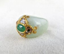 FINEST OLD NATURAL WHITE JADE RING STUDDED WITH DIAMOND & EMERALD WITH 22K GOLD