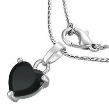 Fashion Silver-Tone Black Love Heart Crystals CZ Womens Pendant Necklace