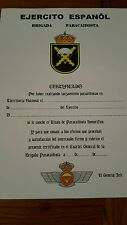 Spanish  special forces military parachute certificate