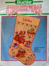 "new BUCILLA COUNTRY CHRISTMAS 18"" stocking counted cross stitch kit  #82737"