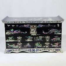 Korean Mother of Pearl Wooden Jewelry Box with Long Life Symbols