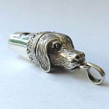VICTORIAN STYLE DOG WHISTLE PENDANT 925 STERLING SILVER