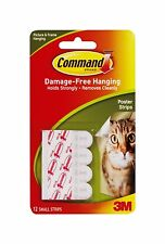 3M Command Poster Strips Pack of 12 - Damage Free Poster Picture Hanging Strips