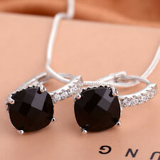Women Chic 925 Sterling Silver Black Sapphire Stud Hoop Earring Wedding Jewelry