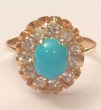 14k Gold Persian Turquoise Vintage  Ring Size 8.5