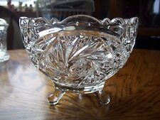 Cut Crystal Footed Star of David Scalloped Candy Dish