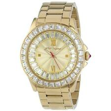 New Womens Betsey Johnson Gold Crystal Stainless Glitz Watch BJ00004-16 $175