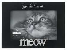Malden Expressions Black Wood Picture Frame, You Had Me at Meow, 4 by 6-Inch , N