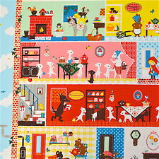 1m Roomful Fairytale fabric PER METRE Kokka Japan fairytale nursery kids retro c