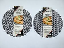 2X BLACK PIZZA MESH OVEN SHEET/TRAY BAKING FOR CRISPY PIZZA BASES CHRISTMAS GIFT