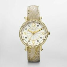 NIB RELIC by FOSSIL Caroline GoldTone Glitz Leather Strap Ladies Watch FREE SHIP