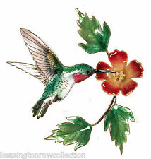 WALL ART - HUMMINGBIRD WITH TRUMPET FLOWER METAL WALL SCULPTURE - WALL DECOR