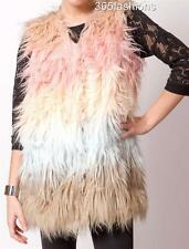 INDULGENCE CELEBRITY OMBRE DIP DYE SHAGGY FAUX FUR VEST GILET MULTICOLOURED S/M