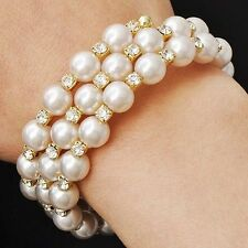 Fashion Womens Yellow Gold Plated White Pearl Crystal Wrap Stretch Bracelet