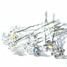10/20Pcs Chic Crystal Diamante Rhinestone Wedding Bridal Flower Hair Clip pin