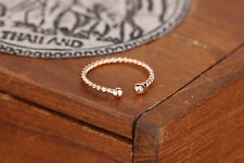 Rose Gold Plated Solid 925 Sterling Silver Twisted Wire Open Band Ring Gift L1/2