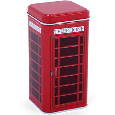 RED TELEPHONE BOX TRINKET TIN 15CM TALL METAL RETRO