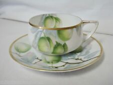 Rosenthal China Green Apples & Gold Trim Cup & Saucer Donatello Coupe Shape