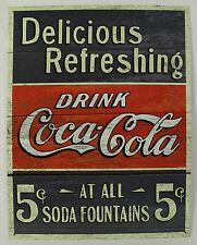 DRINK COCA-COLA 5 CENT SODA FOUNTAINS METAL SIGN Coke Soda NEW Vintage Repro Tin