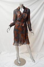 PHILOSOPHY DI ALBERTA FERRETTI Grey Brown Long Sleeve Silk Wrap Dress I42/US6