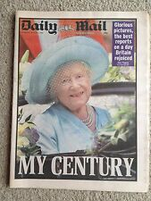 Daily Mail newspaper 5th August 2000 Queen Mother. Sada Big Brother.