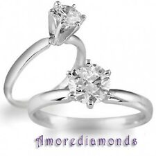 0.5 ct GIA H SI round ideal cut diamond solitaire engagement ring 14k white gold