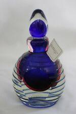 VINTAGE MURANO COBALT CLEAR GLASS  SOMMERSO  PERFUME BOTTLE WITH DOME STOPPER