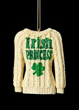 "KURT S. ADLER IRISH KNIT SWEATER w/ ""IRISH PRINCESS"" ON FRONT CHRISTMAS ORNAMENT"