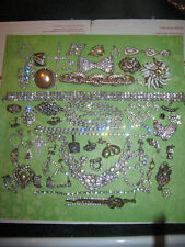 Vintage Rhinestone Bracelets Brooches and Earrings Other Lot Parts Crafts Repair