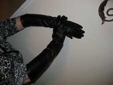 Womens Black Elbow Length Synthetic Leather Gloves -  Medium - Fits a Size 7