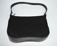 The Sak Black Leather & Crochet/Knit Shoulder Bag/Purse Near Mint Cond