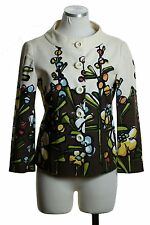 MOSCHINO Cheap And Chic Ivory Brown Floral 3/4 Sleeve Jacket Top Size 8