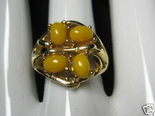 """Vintage Sarah Coventry """"HONEY BERRIES"""" Adjustable Gold tone Ring #5528 NEW"""