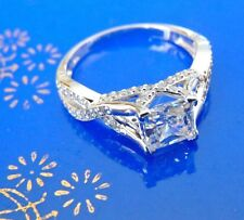 1.75 ct Man Made Diamond Ring 14K White Gold Princess-Cut Engagement Ring size 6