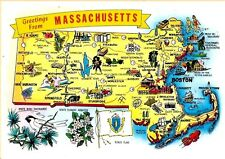 Postcard Greetings From Massachusetts Boston Massachusetts State New England MA