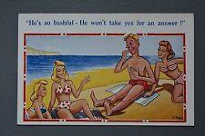 R&L Postcard: Bathing Beauty Bikini Women, Bashful Man Sunbathing