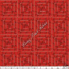 """QUILTING TREASURES """"SEWING SEEDS II"""" 22296-RO RED TAPE MEASURE FABRIC 1/2 YARD"""