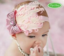 Lovely Ovely Unusal Cotton Girls Baby Pink Feather Hairband Light Bow Headband